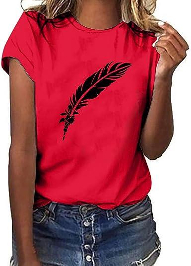 Rameng Camisetas Mujer Manga Corta Camisetas Mujer Verano Blusa Mujer Sport Tops Mujer Elegantes Blusas Verano Camiseta Escote Mujer Camisetas Rojas Mujer Camiseta Corta Mujer Top: Amazon.es: Ropa y accesorios