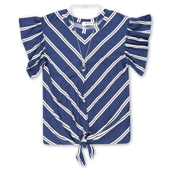 Speechless Girls Big Tie Front Pleated Top