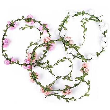 10972b06 3pcs Coronas Diademas de Flores Guirnaldas de Flores Artificiales para el  Pelo Tocados de Novia Decoración para Boda Fiesta Evento Celebración para  ...