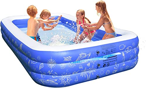 FC Design Backyard Swim Center for Kids, Adults, Babies, Toddlers, Blow up Large Rectangular Patio Garden Outdoor Inflatable Family Swimming Pools with Electric Air Pump Included, 117 D x 68 W x 22 H