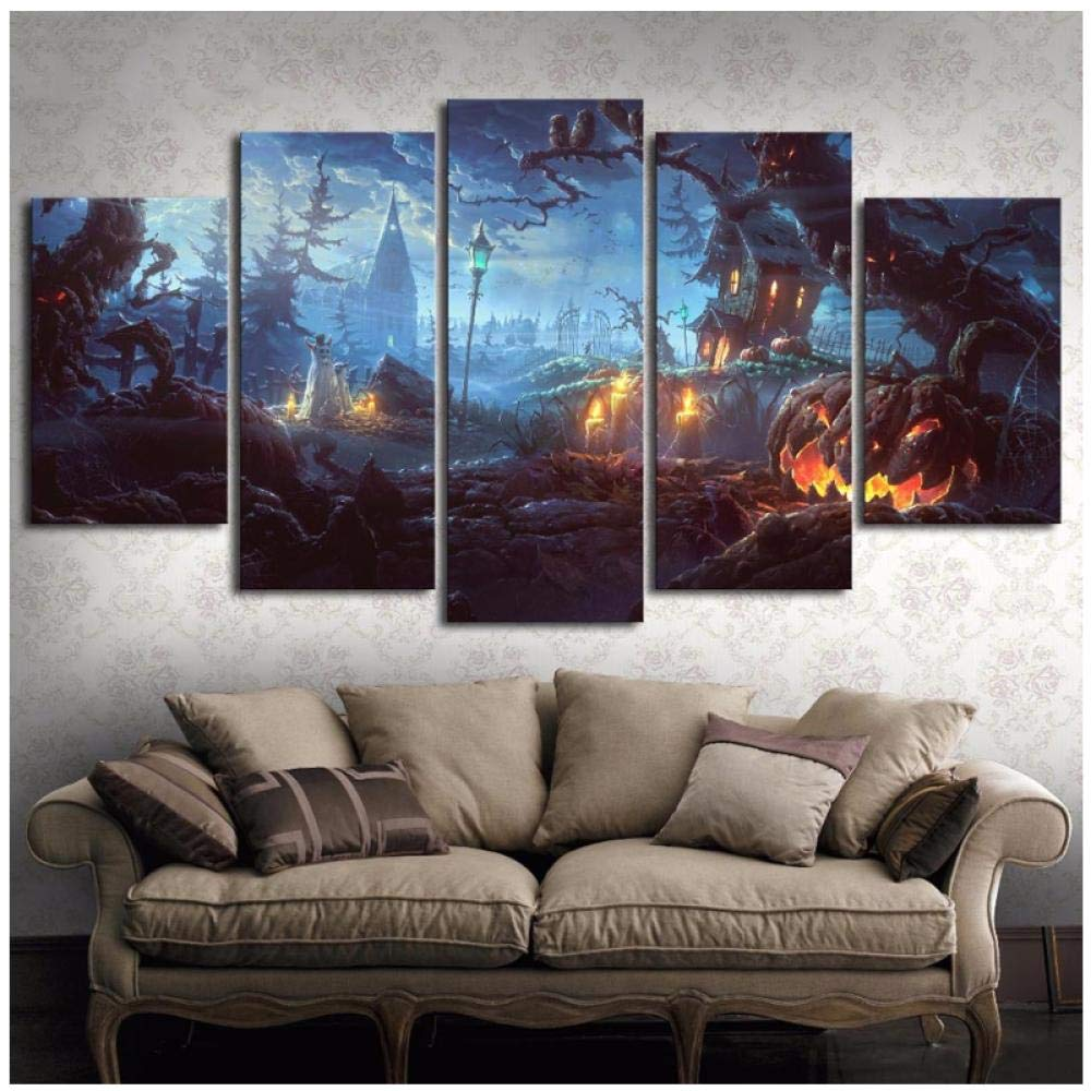 Living Room HD Printed -Wall Art Pictures- 5 Panel Pumpkin Castle On Halloween Day -Modern Home Decoration Posters(No Frame 40x60 40x80 40x100 cm) by Ywsen
