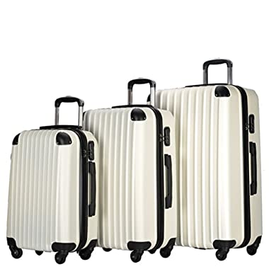 3 Piece Carry On Spinner Wheels Luggage Sets Travel Suitcases (White)