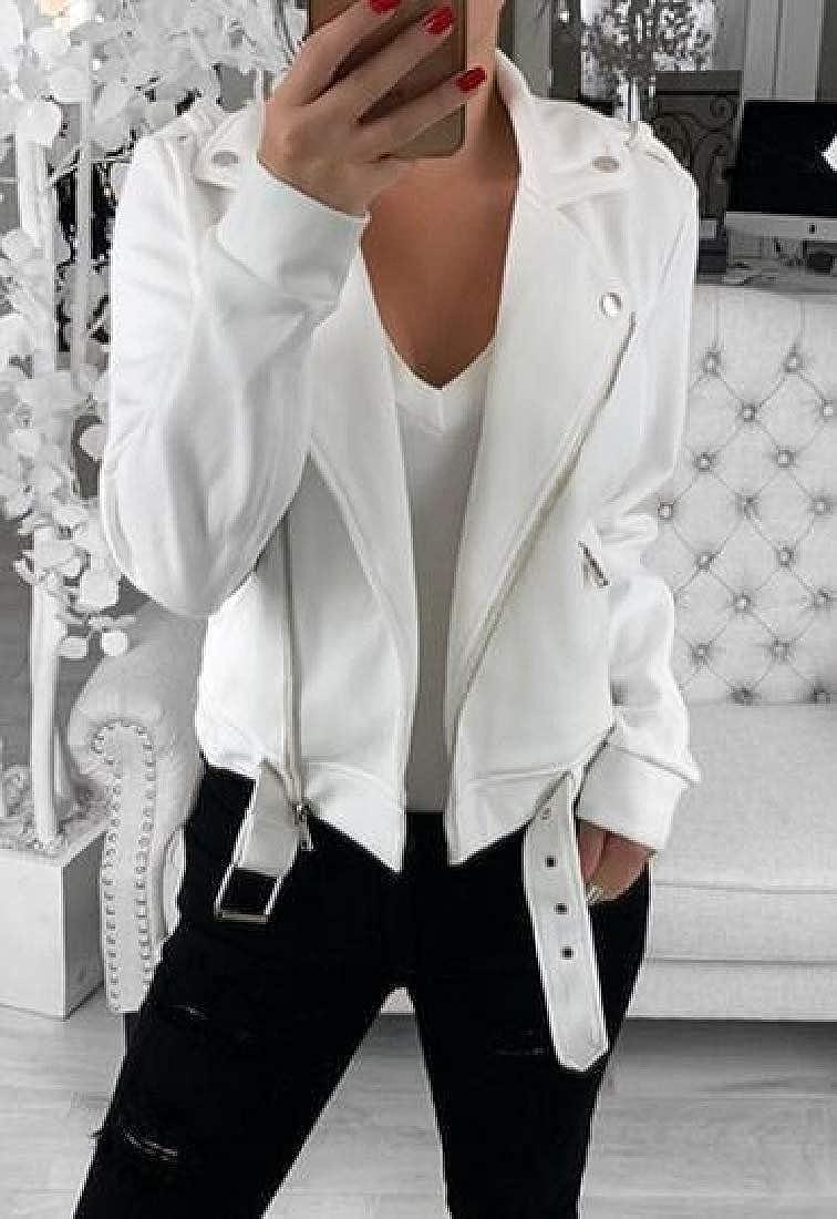 Fensajomon Womens Zip Front Lapel Belted Plain Fashion Sweatshirt Jacket Coat