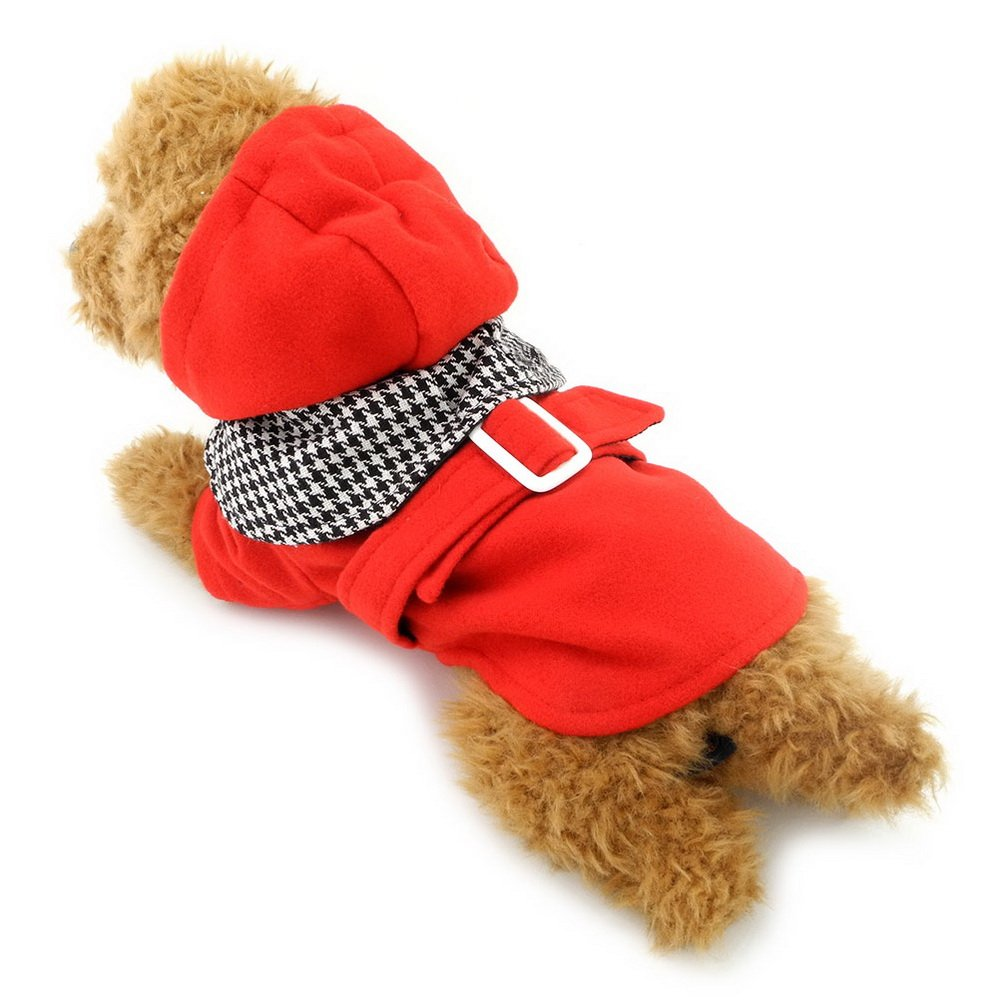 ZUNEA Small Dog Clothes for Female Male Hoodies Dog Coat Winter Warm Wool Plaid Charm Red XXL