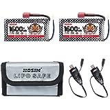 Hosim 2pcs 7.4V 1600mAh 25C T Connector Li-Polymer Rechargeable Battery Pack and 1pcs Battery Bag, Li-Po Rechargeable Battery