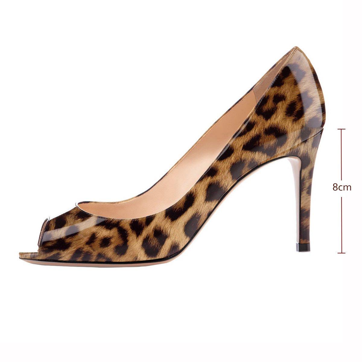 Eldof Women Peep Toe Pumps Mid-Heel Pumps Formal Wedding Bridal Classic Heel Open Toe Stiletto B07F1KZ2B7 7 B(M) US|Leopard