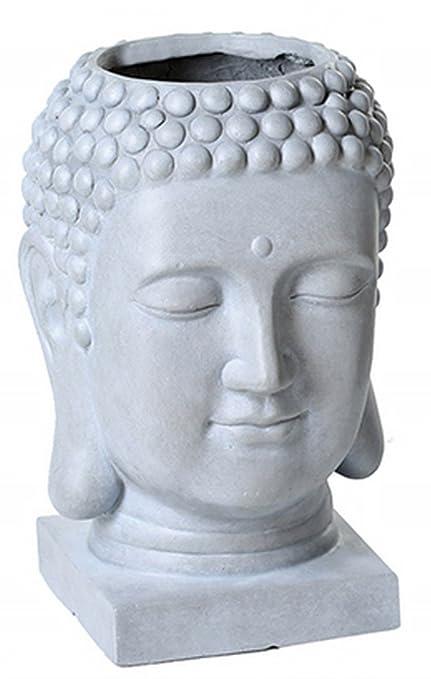 Maceta Buda, Magnesia, Gris, 39 cm