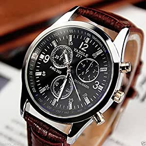 Fashion Men's Date Leather Stainless Steel Military Sport Quartz Wrist Watch. Stainless steel