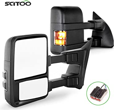 Ford Towing Mirrors SCITOO Driver Side Rear View Mirrors for 2003-2007 Ford F-250 F-350 F-450 F-550 Super Duty with Power Control Heated Manual Telescoping Manual Folding and Turn Signal Light Feature