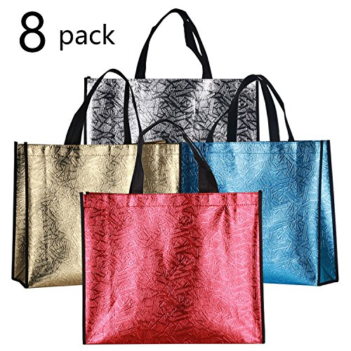 Rumcent Bling Glossy Durable Non-Woven Laser Tote Bag Shopping Bag Gift Bag, Chic Reusable Grocery Shopping Bag, Protective Overlook Edging Design, Waterproof, Medium - Assorted 4 Colors, 8 (Canvas Bling)