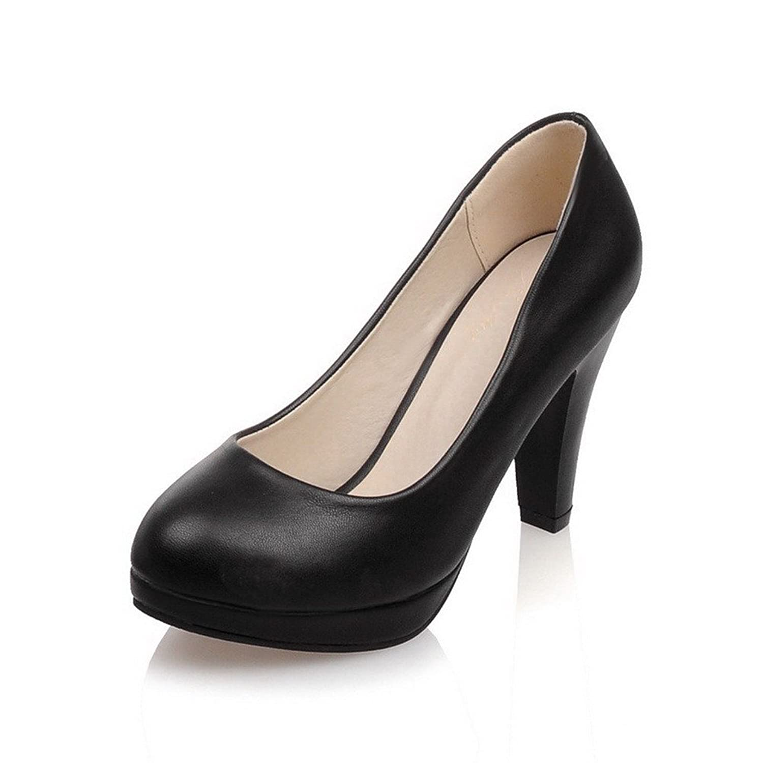 AmoonyFashion Women's PU Solid Pull-on Round Closed Toe High Heels Pumps Shoes