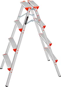 LUISLADDERS Step Ladder Folding Step Stool Lightweight Aluminum Home and Kitchen Multi Purpose Portable 4 Step Ladders (330lbs)