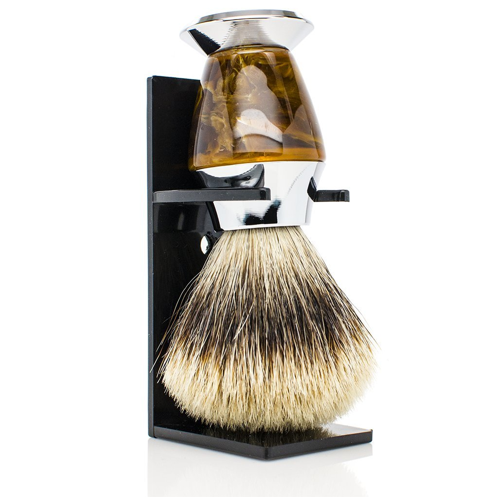 Maison Lambert Personalized gifts for men - badger shaving brush. Engrave 2 to 3 initials. Perfect mens gifts, groomsmen gifts, wedding favor, shaving kit and set. Free stand included (Best Badger)