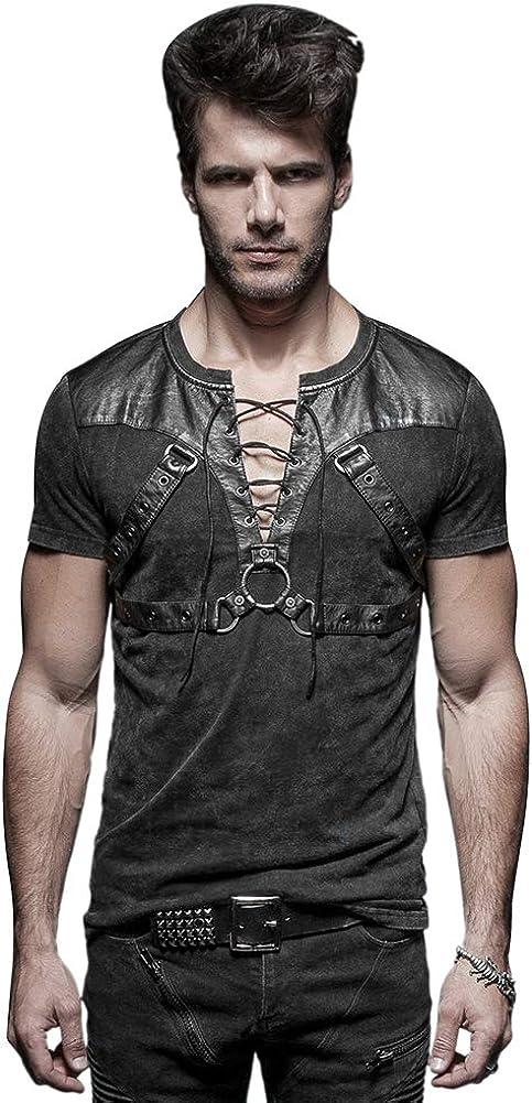 Punk Rave Black Gothic Steampunk Soldier Strappy Short T-Shirt for Men