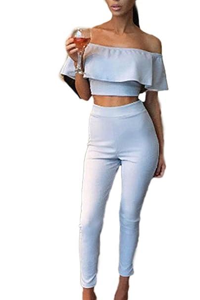 Mujer Set Blusa De Carmen Y Pantalon Dos Piezas Verano Moda Cóctel Party Sencillos Especial De Noche Overall Elegantes Volantes Barco Cuello Sin Tirantes ...