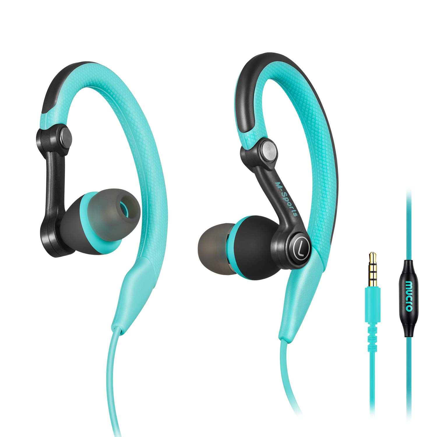mucro Running Headphones Over Ear in Ear Sport Earbuds Earhook Wired Stereo Workout Ear Buds for Jogging Gym for Samsung Android Phones Tablets (Blue)