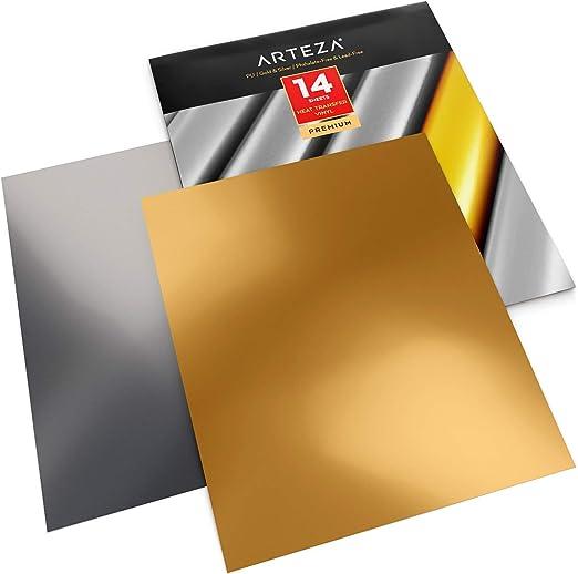 Arteza Vinilo textil termoadhesivo oro y plata | 25,4 x 30,5 cm ...