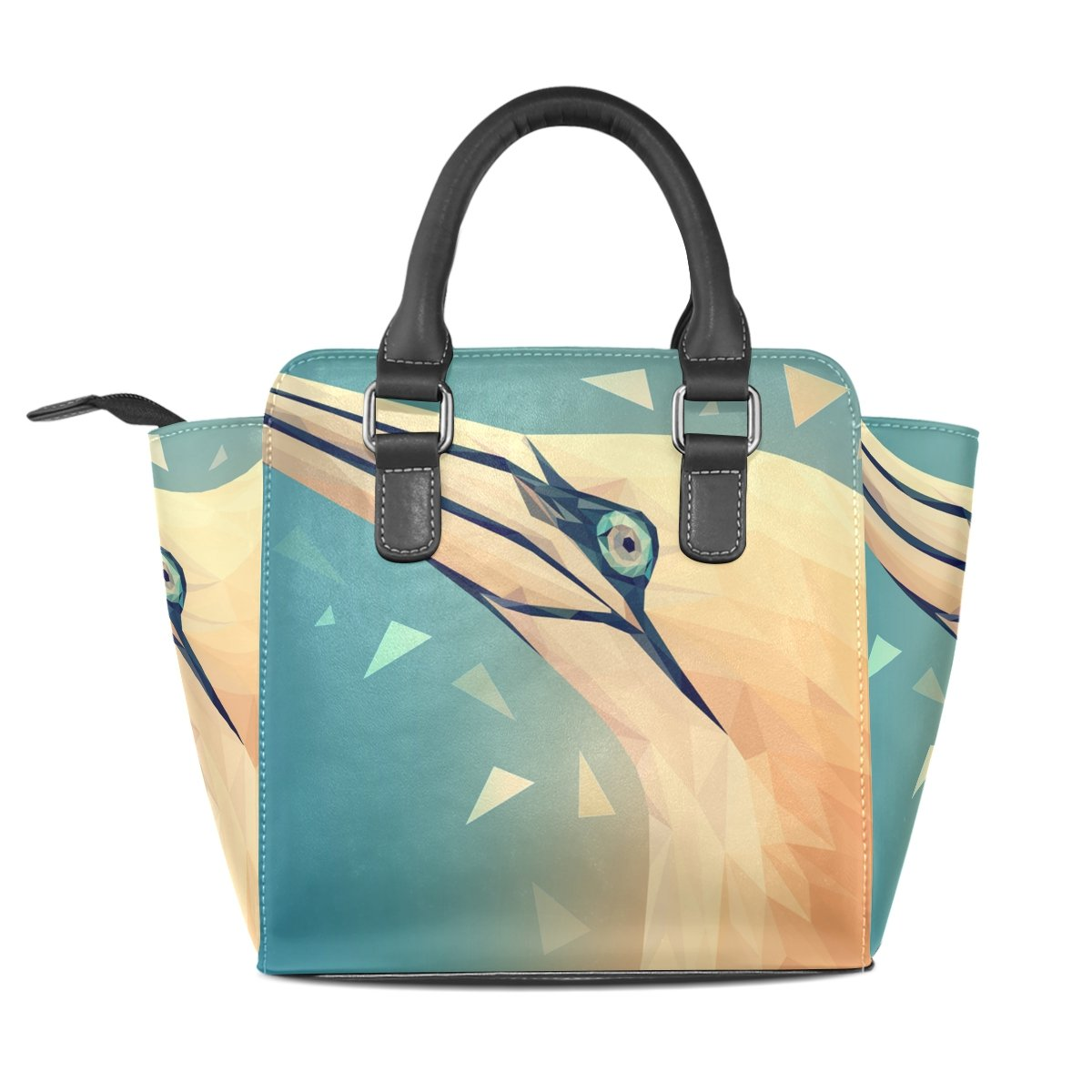 Amazon.com: DEYYA Womens Flamigo Bird Rivet PU Leather Tote ...