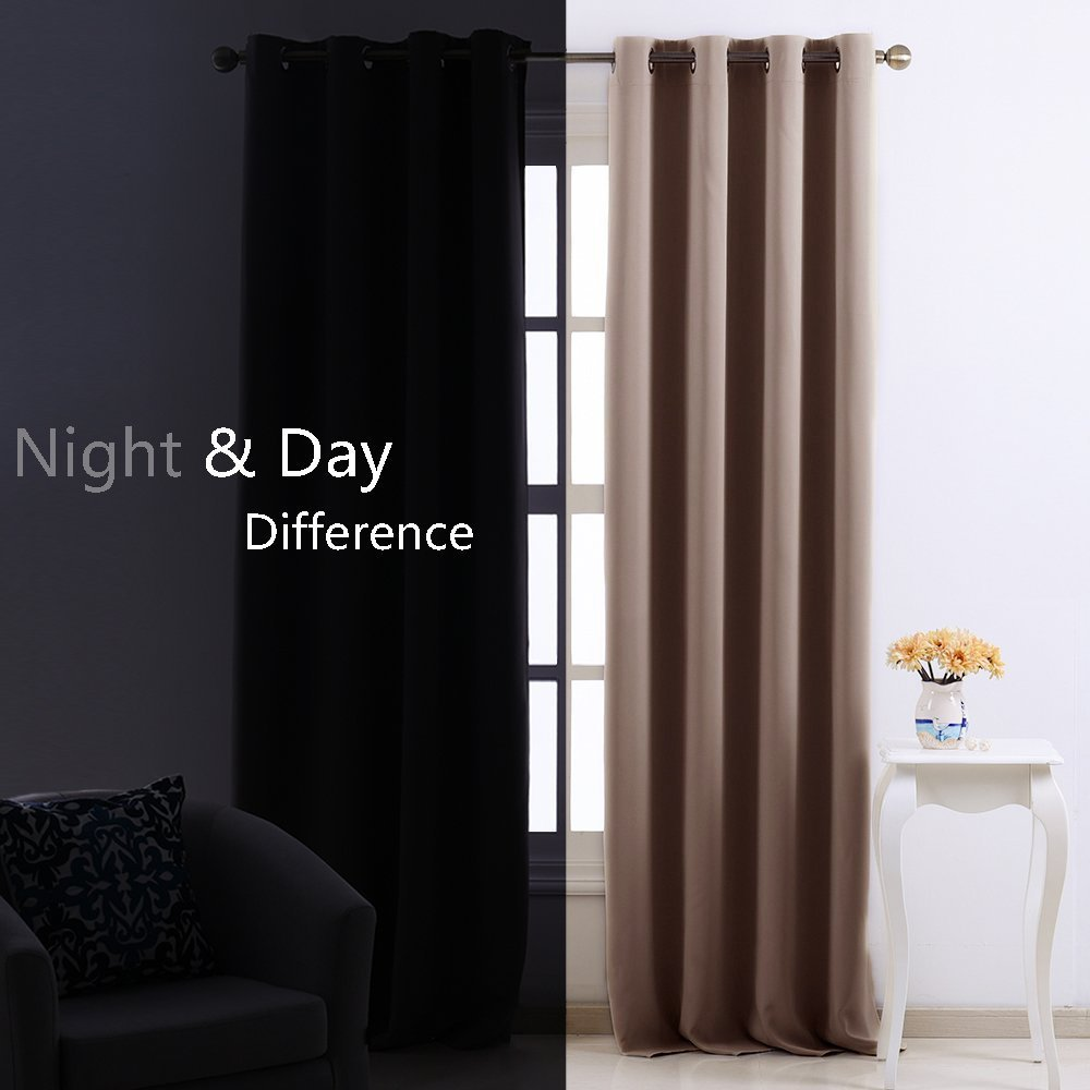 NICETOWN Blackout Curtain & Drape - (khaki Color) Noise reduction Drapery
