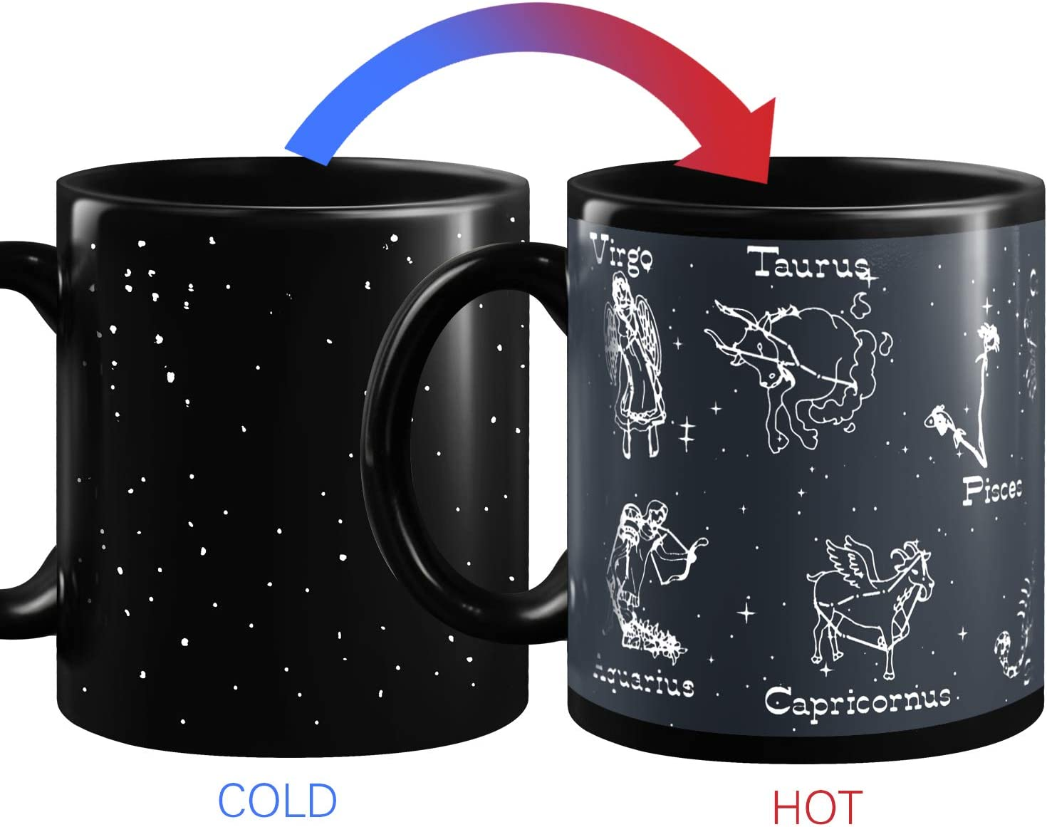 Heat Changing Constellation Mug Magic Coffee Mug Heat Sensitive Porcelain Tea Cup(10 OZ)