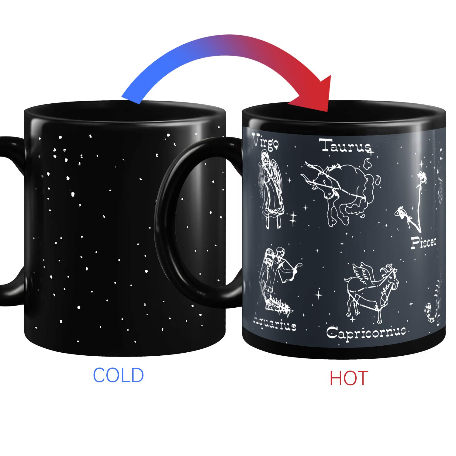 Heat Changing Constellation Mug 12 OZ Sensitive Solar System Coffee Cup System Space Mugs Astronomy Porcelain Tea Cup