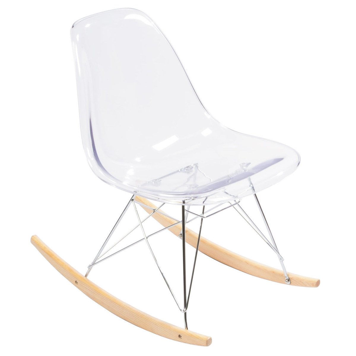 Mid-Century Modern Retro Rocking Chair, Clear Armless