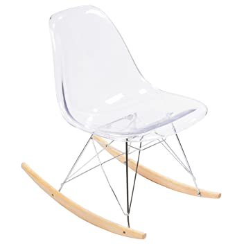 Amazoncom Clear Acrylic Eames Rocking Chair Replica Home Kitchen - Clear perspex chairs