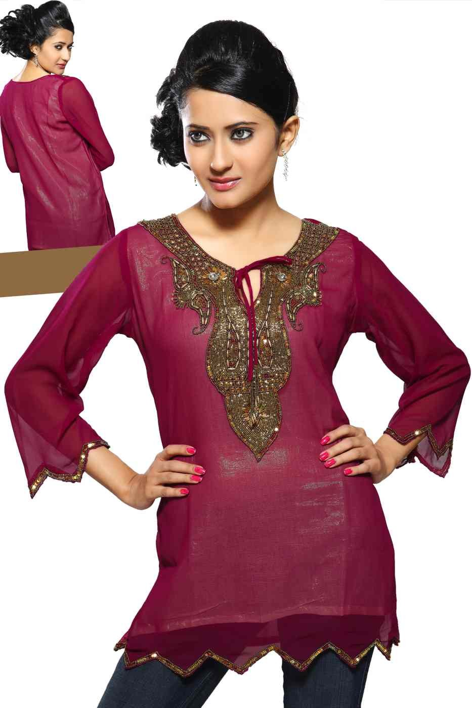 Indian Selections - Fine Georgette Kurti with handcrafted neckline and liner - Large