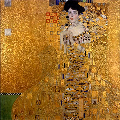 ($50-$4000 Hand Painted Art Paintings by College Teachers - Gustav Klimt Portrait of Woman in Gold Oil Painting Reproduction - Adele Bloch Bauer Old Famous for Collectors -Size05)