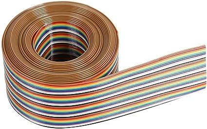 Asiproperuk - Cable Plano de Color arcoíris de 1,27 mm de Distancia de Paso 20P de Color Plano, Cable de Cinta arcoíris: Amazon.es: Electrónica