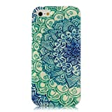 Iphone 5c Case, JAHOLAN Green Totem Flower Clear TPU Soft Case Rubber Silicone Skin Cover for iphone 5C