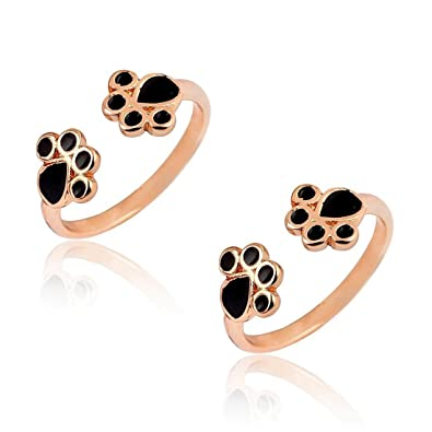 Amazon Com Jjtzx Paw Print Ring Dog Cat Paw Ring Skinny Band Stack