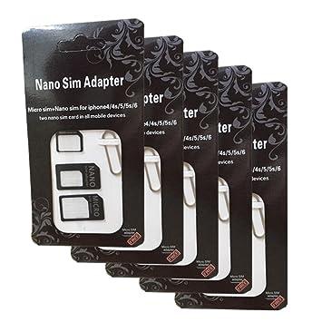 Eleidgs 5 PCS 4 en 1 Nano SIM Tarjetas Adaptador de Tarjeta ...