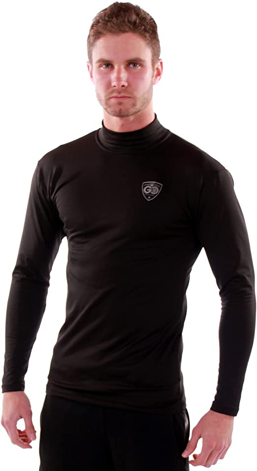 At The Buzzer Men/'s Long Sleeve Thermal Shirt Compression Base Layer Mock Neck Top
