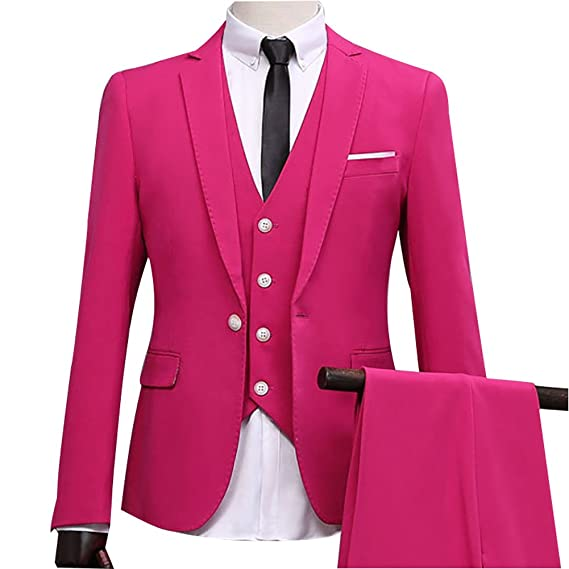 Botong One Button 3 Pieces Rose Red Wedding Suits For Men Notch ...