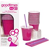Goodtimes 9oz Kids Cups To-Go Kits With Lids And Straws (15, Pink)