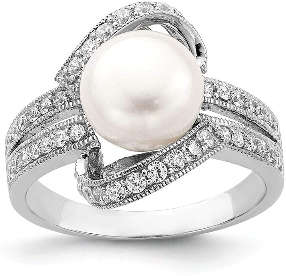Sterling Silver 3 MM Simulated Pearl and CZ Ring
