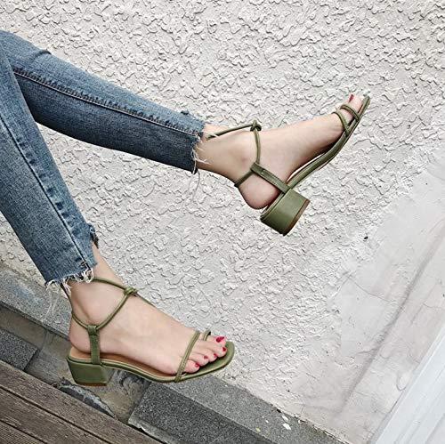 Green Mujer Sandalias Alto Yukun Grueso Mujeres De Para Verano Palabra Zapatos Tacón Hebilla Moda Con 0x0t46w