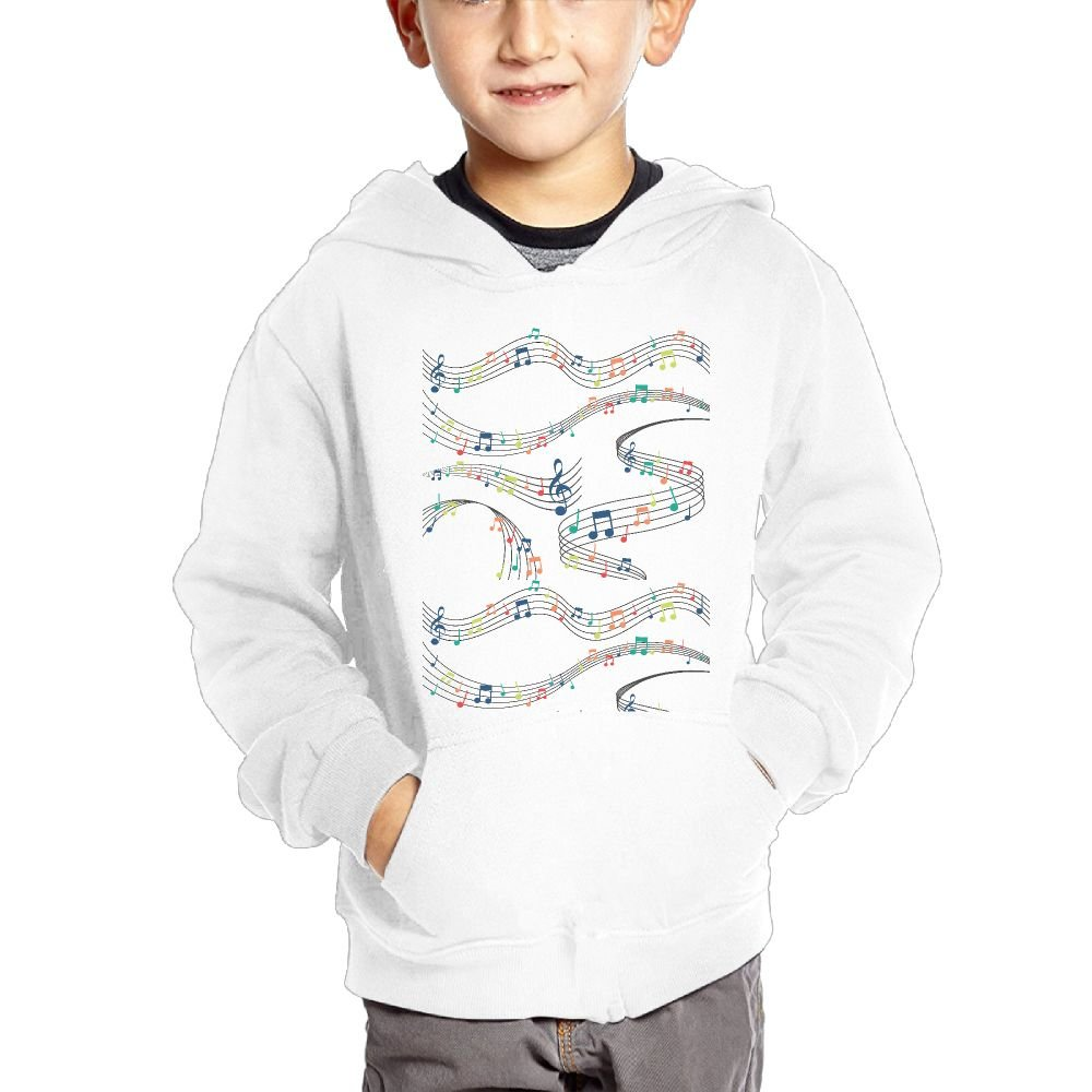 JIANGSHAN Musical Note Customization Hooded Pocket Sweater for Children Spring//Autumn//Winter Outfit Long-Sleeved Hoodie