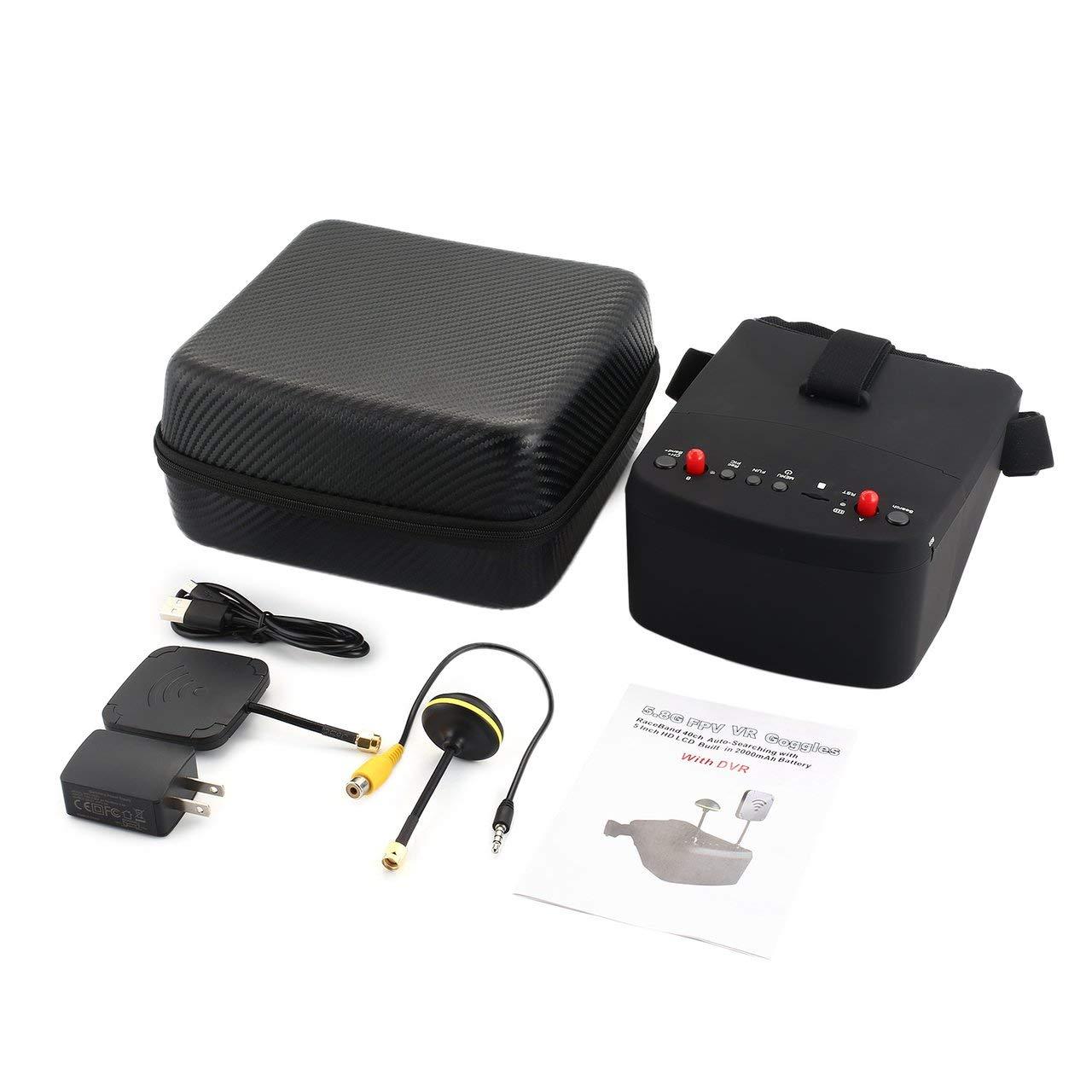Blackfell ゴーグル5.8G 5in 40CH FPVゴーグルLS-800Dヘッドセットレシーバーモニター付きHD DVRデュアルアンテナRCレーシングドローン用自動検索   B07PMSHG1Q