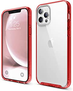 elago Hybrid Clear Case Compatible with iPhone 12 and Compatible with iPhone 12 Pro 6.1 Inch (Red) - Shockproof Bumper Cover Protective Case