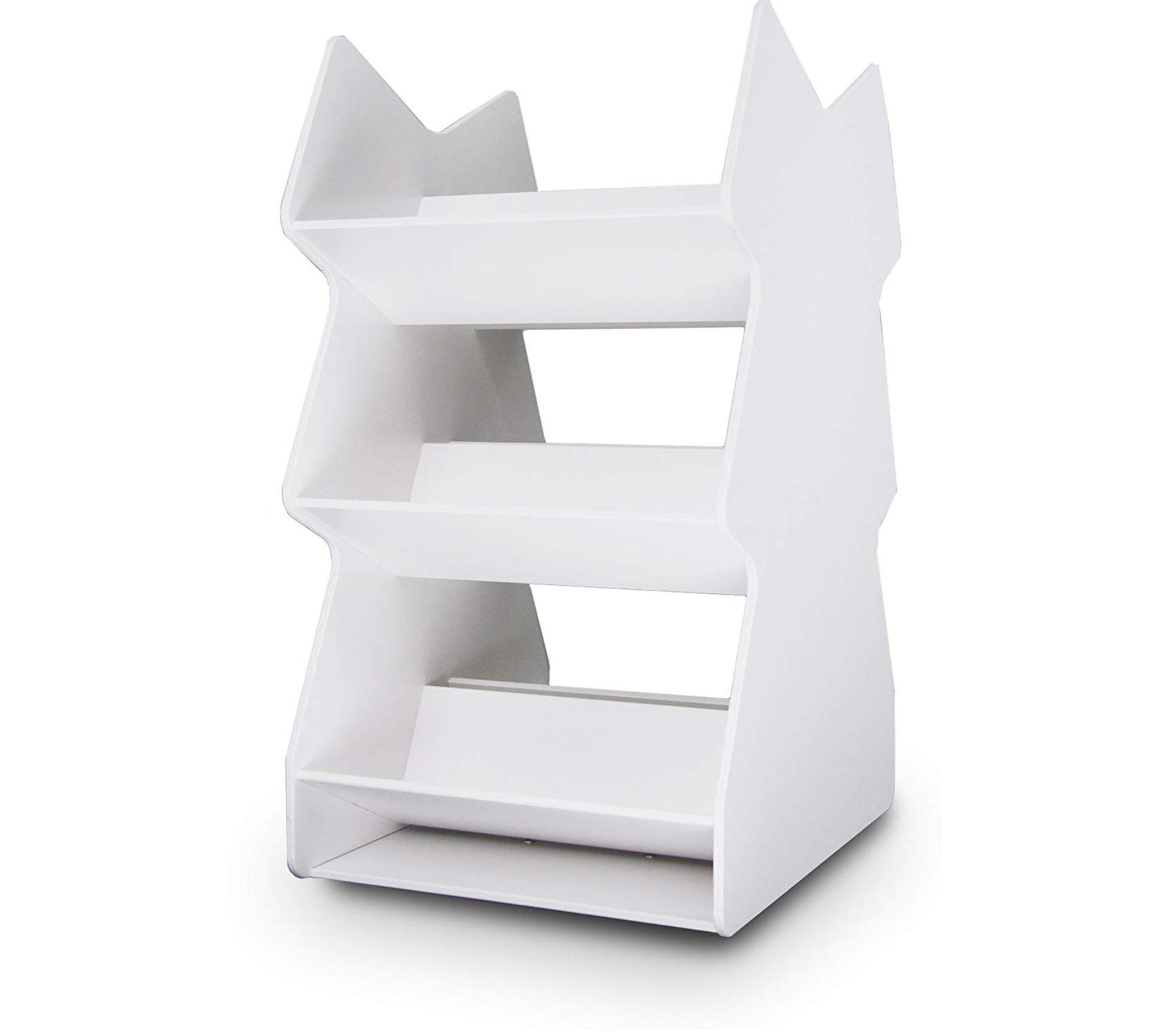Wood & Style Premium White PVC Triple Rotating Tilted Safety Shelf 8.2lbs 12'' Width x 22.5'' Height x 14.6'' Depth Storage by Wood & Style (Image #1)