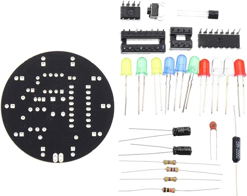 BouBou Lucky Turntable Electronic DIY Kit Pr/áctica De Soldadura Placa De Circuito Experimento Piezas De Entrenamiento