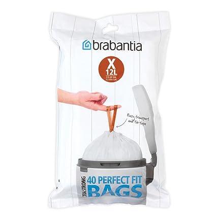 Brabantia Código X Bolsas de Basura Formato expendedor, Blanco, 10-12 L,