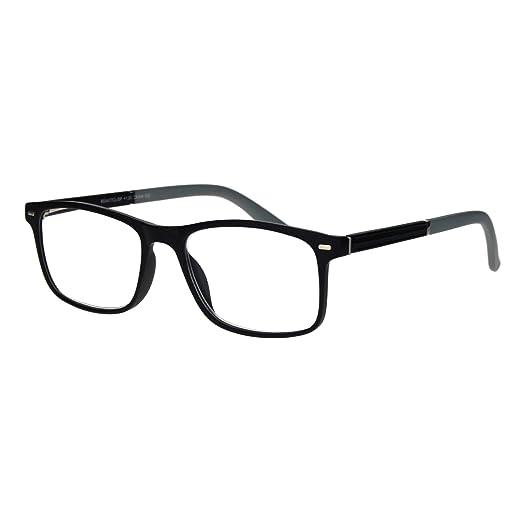 8d8d9664938 Mens Narrow Rectangular Thin Plastic Horned Powered Reading Glasses Black  Grey 1.0