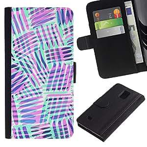 Be Good Phone Accessory // Caso del tirón Billetera de Cuero Titular de la tarjeta Carcasa Funda de Protección para Samsung Galaxy Note 4 SM-N910 // mint green purple lines abstract pattern