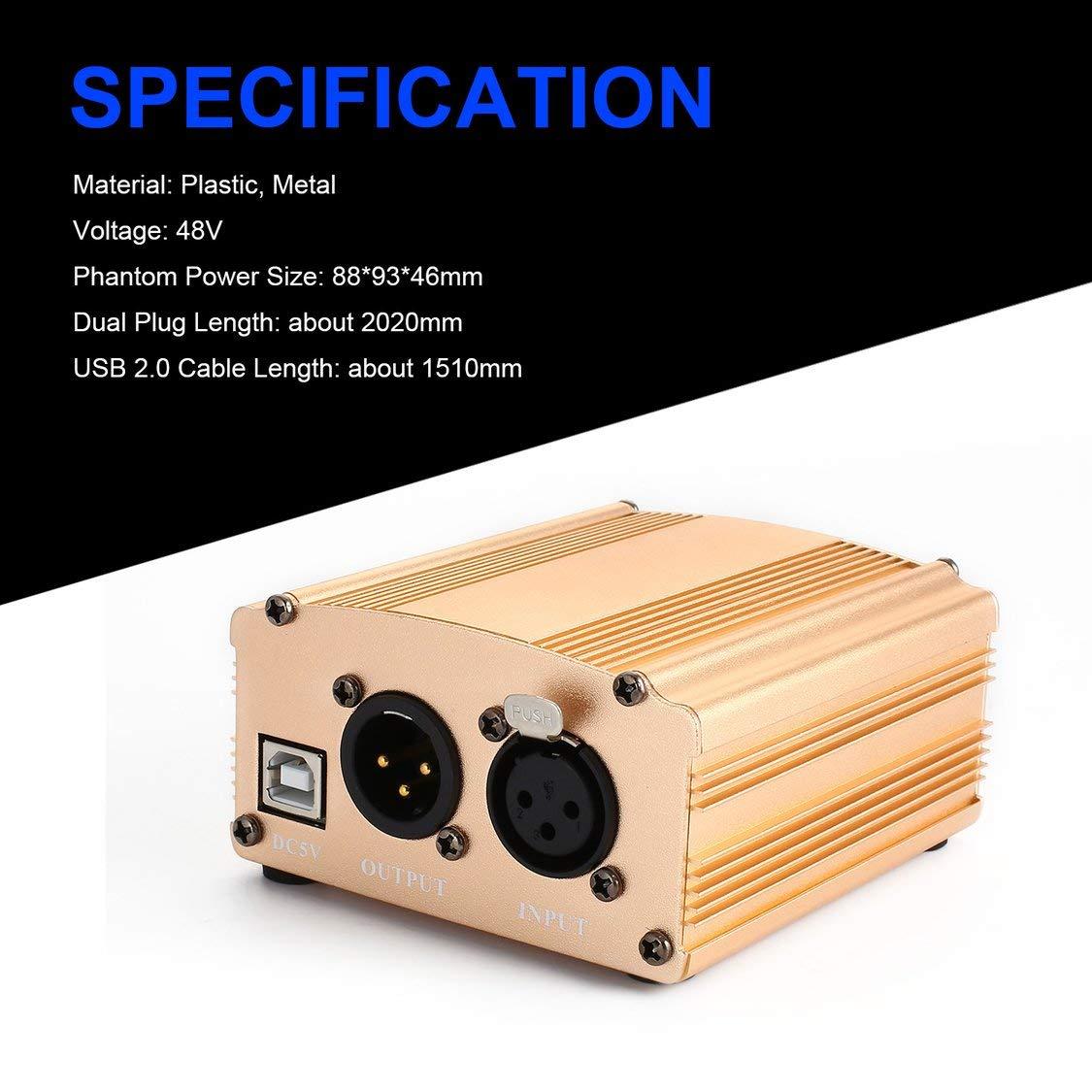 Amazon.com: 48 V USB Phantom fuente de alimentación USB 2.0 ...