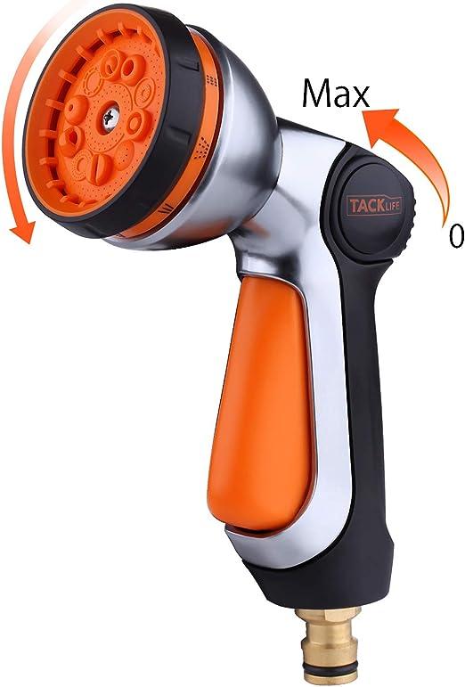 TACKLIFE Pistola de Riego, 10 Modos Pistola de Agua de Jardín, Nueva Patente para Controlar con sólo una Mano, Ajustar el Caudal con sólo el Dedo Pulgar, Boquilla Metálica - GSG1A: Amazon.es: