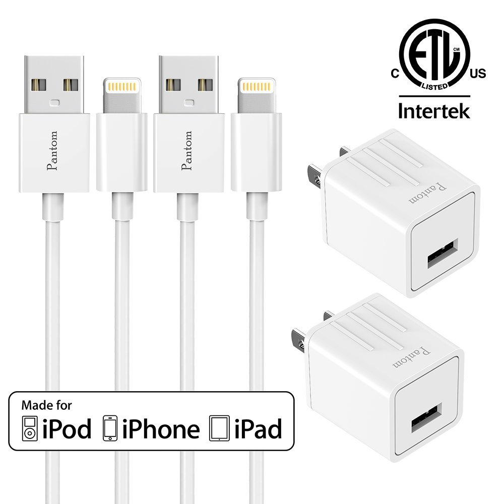 Chargers, Pantom 2-Pack Charging Adapter Travel Wall Chargers with 2-Pack 5-FeetLightning Cables Charge Sync for iPhone X, iPhone 8, iPhone 7, iPhone 6, iPhone 5, iPad Mini