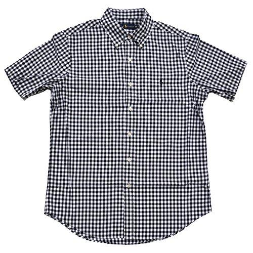 Polo Ralph Lauren Mens Short Sleeve Oxford Button Down(XL, Black/White Checked) (Ralph Lauren Polo Oxford)